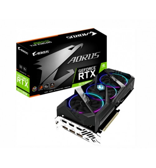 Gigabyte Geforce RTX 2070 SUPER Aorus Graphics Card 8G GDDR6 GPU Upto 1905MHz 3X Windforce Stack RGB Fan 2 Slot 3XHDMI+ 3XDP+1XType C 290mm Len