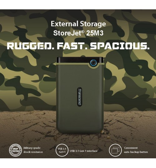 TRANSCEND STOREJET 2.5 INCH 1TB USB 3.1 RUGGED EXTERNAL HARD DISK DRIVE MILITARY GREEN SLIM