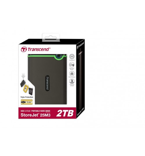 TRANSCEND STOREJET 2.5 INCH 2TB USB 3.0 ANTI-SHOCK EXTERNAL HARD DISK DRIVE (GREY) SLIM