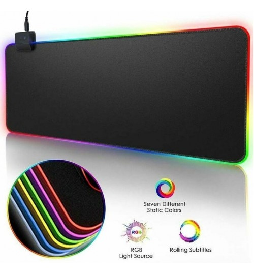 Mouse Pad RGB Gaming Large Gamer Led Computer Big Mat Backlight Laptop