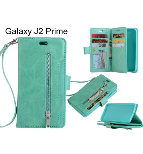 Galaxy J2 Prime case 10 cardS slots wallet leather case with zip
