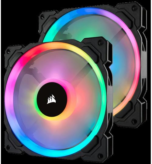 CORSAIR LL SERIES LL140 RGB 140MM DUAL LIGHT LOOP RGB LED PWM FAN 2 FAN PACK WITH LIGHTING NODE PRO CONTROLLER