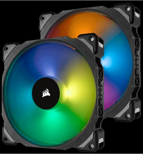 CORSAIR ML140 PRO RGB 140MM PREMIUM MAGNETIC LEVITATION RGB LED PWM FAN TWIN FAN PACK WITH LIGHTING NODE PRO CONTOLLER