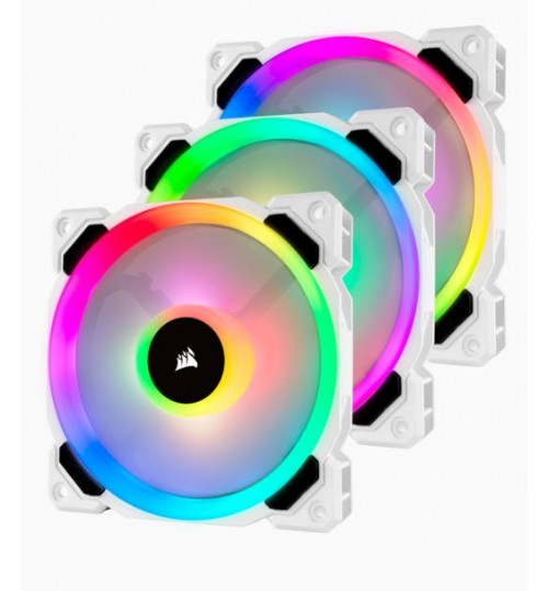 CORSAIR LL SERIES LL120 RGB 120MM DUAL LIGHT LOOP RGB LED PWM FAN 3 FAN PACK WITH LIGHTING NODE PRO CONTROLLER - WHITE BODY
