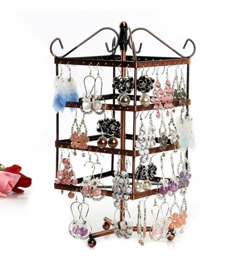 Earring Holder 4-Tier Rotating Earing Display Stand - 96 Holes