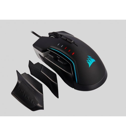CORSAIR GLAIVE RGB PRO 18000 DPI OPTICAL GAMING MOUSE WITH INTERCHANGEABLE GRIP - ALUMINUM