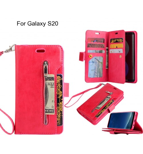 Galaxy S20 case 10 cards slots wallet leather case with zip