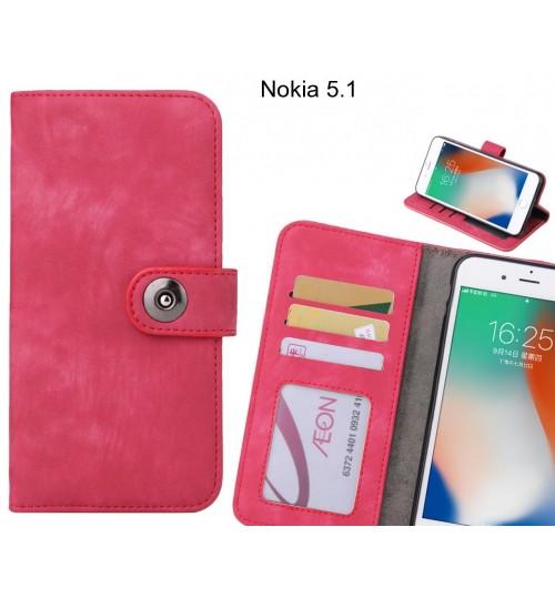 Nokia 5.1 case retro leather wallet case