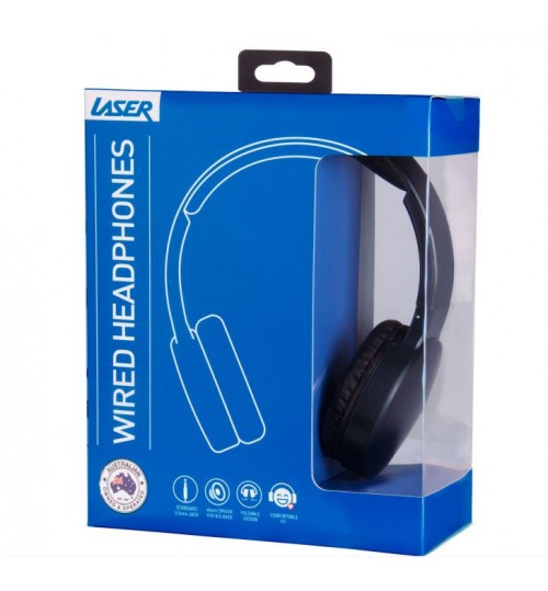 LASER FOLDABLE HEADPHONES WITH EXTRA PADDED DESIGN - BLACK