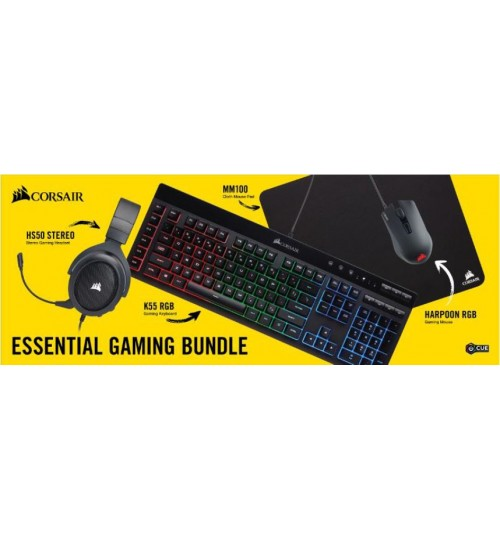 CORSAIR ESSENTIAL GAMING BUNDLE - HS50 HEADSET + K55 RGB KEYBOARD + HARPOON RGB MOUSE + MM100 MOUSE PAD