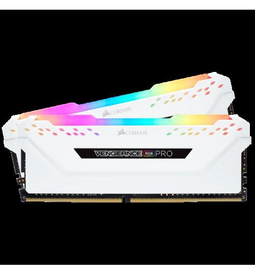 CORSAIR CMW16GX4M2C3600C18W DDR4 3600MHZ 16GB 2 X 288 DIMM UNBUFFERED 18-19-19-39 VENGEANCE RGB PRO WHITE HEAT SPREADER RGB LED 1.35V XMP 2.0