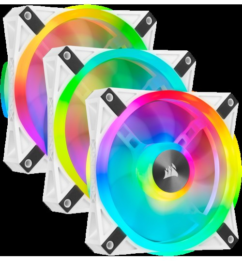 CORSAIR QL120 RGB 120MM RGB LED FAN TRIPLE PACK WITH LIGHTING NODE CORE - WHITE BODY