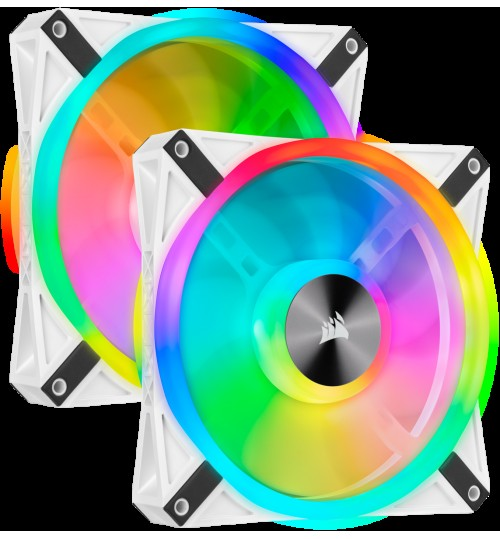 CORSAIR QL140 RGB 140MM RGB LED FAN DUAL PACK WITH LIGHTING NODE CORE - WHITE BODY