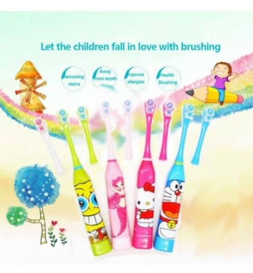 Children Kids Cartoon Electric Toothbrush + 1 Brush Heads