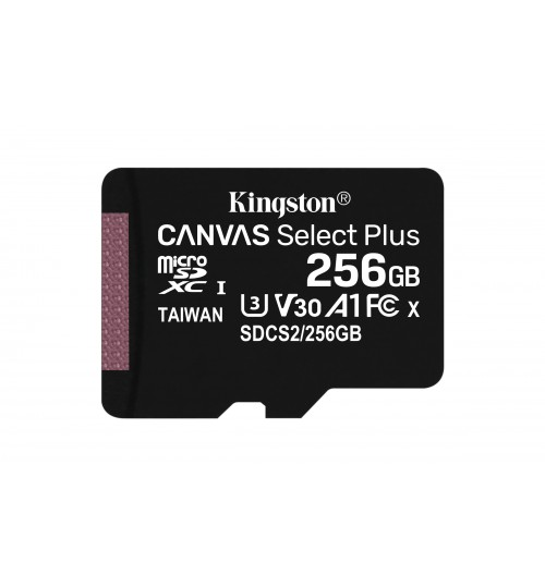 KINGSTON 256GB MICROSDXC UHS-1 CANVAS SELECT PLUS MEMORY CARD WITH SD ADAPTER