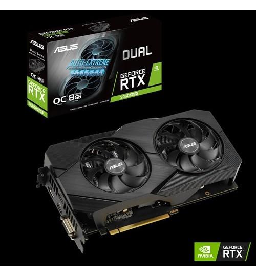 ASUS DUAL-RTX2060S-O8G-EVO-V2 DUAL GEFORCE RTX2060 SUPER EVO V2 OVERCLOCKED 8GB GDDR6 PCI-E3.0DVI-D HDMI DISPLAY PORT