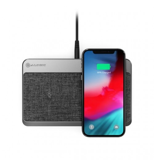 ALOGIC POWER HUB MULTI-DEVICE WIRELESS & CHARGING STATION - SPACE GREY - DUAL WIRELESS CHARGER USB-A (7.5W) AND USB-C POWER DELIVERY (18W)