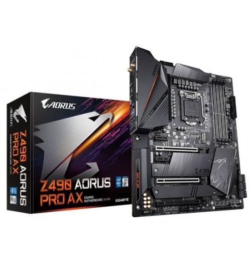 Gigabyte Z490 AORUS PRO AX ATX Form Factor For Intel 10th Gen LGA1200 Z490 2XM.2 4X DDR4 Dimm Back I/O: 9XUSB 1XType C HDMI Wifi AX+BT