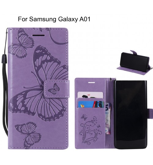 Samsung Galaxy A01 case Embossed Butterfly Wallet Leather Case