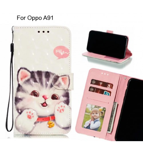 Oppo A91 Case Leather Wallet Case 3D Pattern Printed