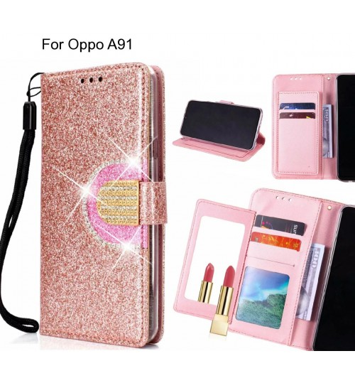 Oppo A91 Case Glaring Wallet Leather Case With Mirror