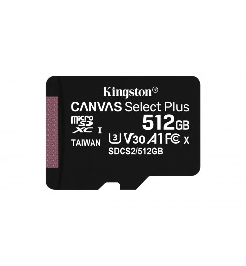 KINGSTON 512GB MICROSDXC UHS-1 CANVAS SELECT PLUS MEMORY CARD WITH SD ADAPTER