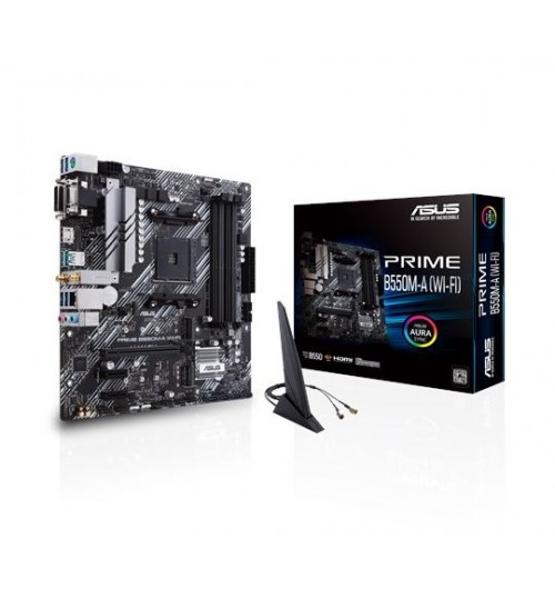ASUS PRIME B550M-A (WI-FI) AMD B550 AM4 M-ATX 4XDDR4-4600 PCI-E4.0 SATA3 M.2 RAID VGA HDMI DVI-D PORTS