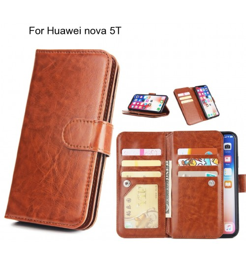 Huawei nova 5T Case triple wallet leather case 9 card slots