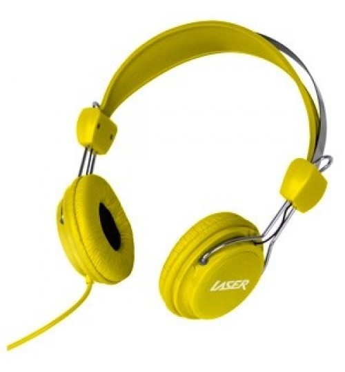 LASER KIDS HEADPHONES WITH VOLUME LIMIT - YELLOW