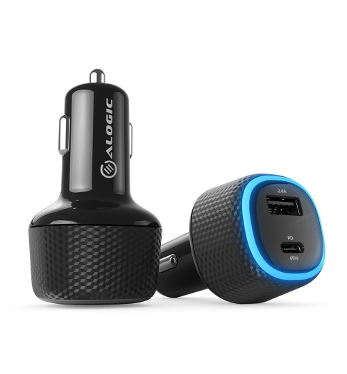ALOGIC RAPID 2 PORT USB-C & USB-A LAPTOP & PHONE CAR CHARGER - 45W POWER DELIVERY & 12W FAST CHARGING