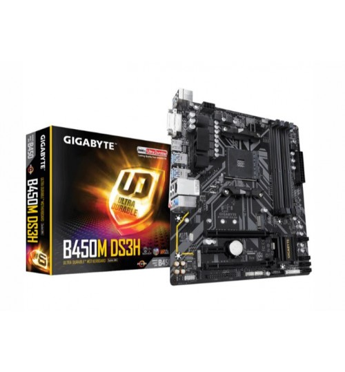 GIGABYTE GA-B450M-DS3H MATX MOTHERBOARD AMD B450 CHIPSET FOR AMD RYZEN AM44X DDR4-3200 M.2 SATA3 USB 3.1 DVI HDMI 2.0