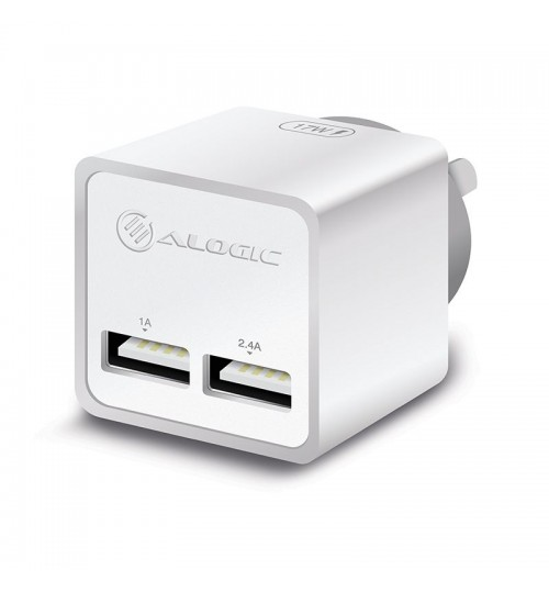 ALOGIC 2 PORT USB MINI WALL CHARGER - 2.4A + 1A - 17W - WHITE