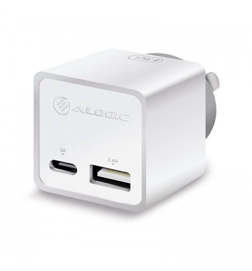 ALOGIC 2 PORT COMBO USB-C & USB-A MINI WALL CHARGER - 3A + 2.4A - 17W - WHITE