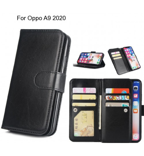 Oppo A9 2020 Case triple wallet leather case 9 card slots