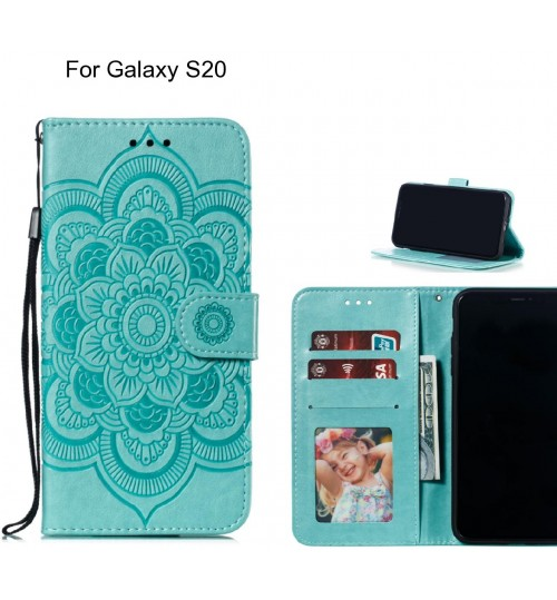 Galaxy S20 case leather wallet case embossed pattern