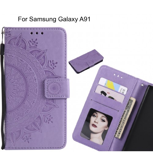 Samsung Galaxy A91 Case mandala embossed leather wallet case