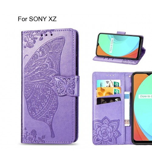 SONY XZ case Embossed Butterfly Wallet Leather Case