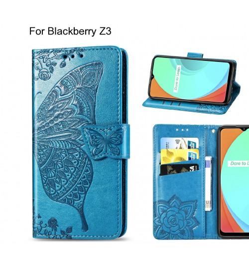 Blackberry Z3 case Embossed Butterfly Wallet Leather Case