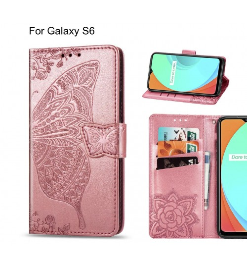 Galaxy S6 case Embossed Butterfly Wallet Leather Case