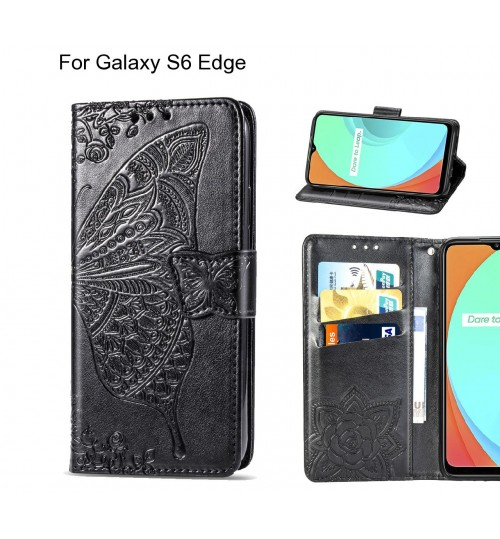 Galaxy S6 Edge case Embossed Butterfly Wallet Leather Case