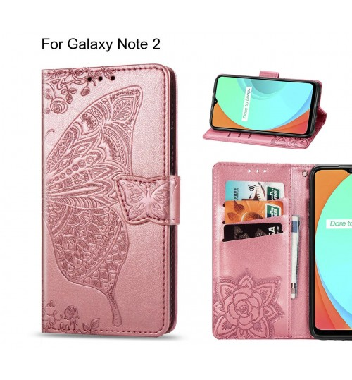 Galaxy Note 2 case Embossed Butterfly Wallet Leather Case