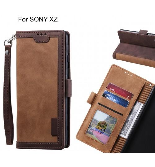 SONY XZ Case Wallet Denim Leather Case Cover