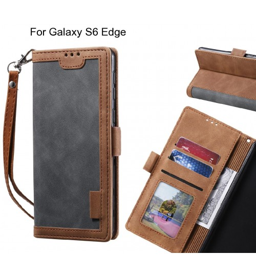 Galaxy S6 Edge Case Wallet Denim Leather Case Cover