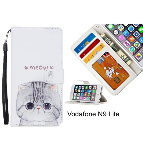 Vodafone N9 Lite case 3 card leather wallet case printed ID