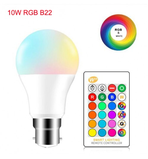 RGB LED Bulb Lights 220V B22 10W