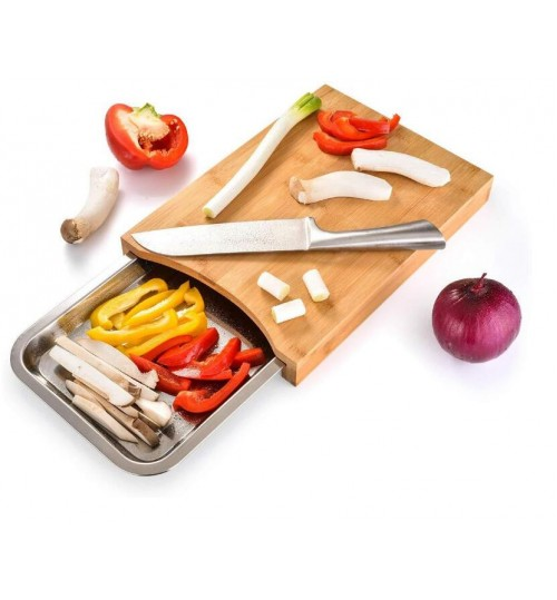 Bamboo Chopping Board with Sliding Stainless Steel Tray