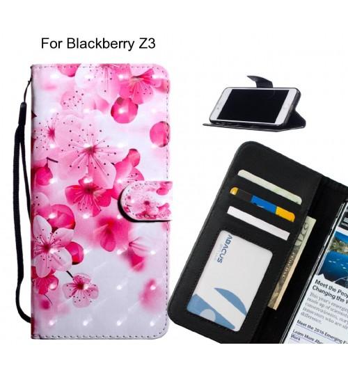 Blackberry Z3 Case Leather Wallet Case 3D Pattern Printed