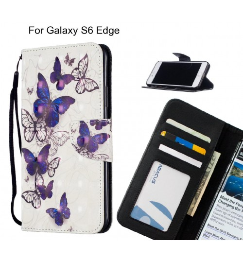 Galaxy S6 Edge Case Leather Wallet Case 3D Pattern Printed