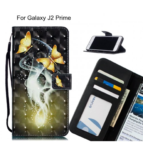 Galaxy J2 Prime Case Leather Wallet Case 3D Pattern Printed