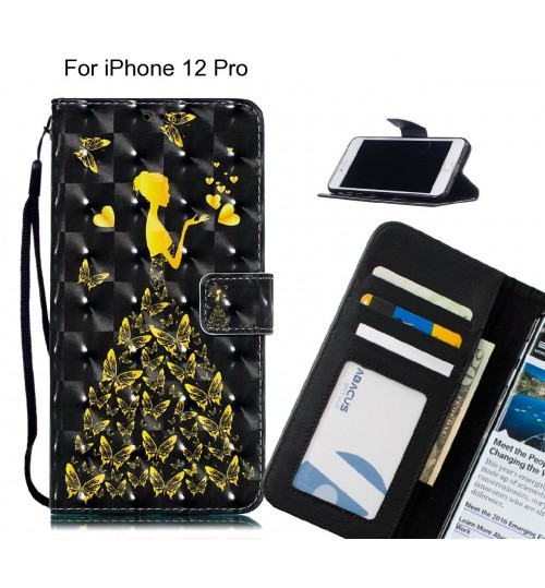 iPhone 12 Pro Case Leather Wallet Case 3D Pattern Printed
